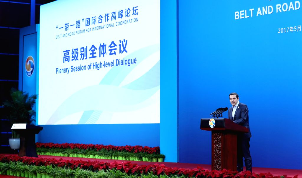 BEIJING, May 14, 2017 - Greek Prime Minister Alexis Tsipras speaks at a plenary session of high-level dialogue at the Belt and Road Forum (BRF) for International Cooperation in Beijing, capital of ... - Alexis Tsipras