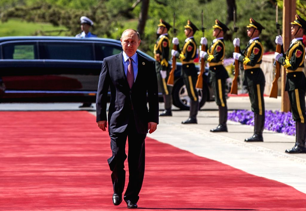 BEIJING, May 15, 2017 - Russian President Vladimir Putin arrives for the ers' Roundtable Summit at the Belt and Road Forum (BRF) for International Cooperation at Yanqi Lake International ...