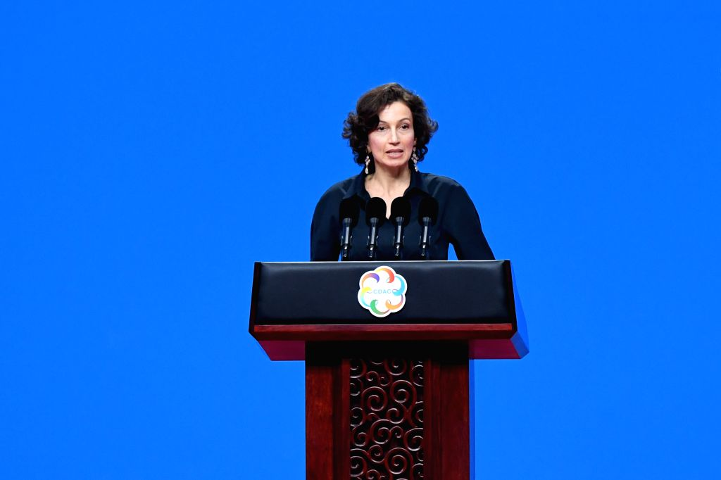 BEIJING, May 15, 2019 (Xinhua) -- UNESCO Director-General Audrey Azoulay delivers a speech at the opening ceremony of the Conference on Dialogue of Asian Civilizations (150519) at the China National Convention Center in Beijing, capital of China, May