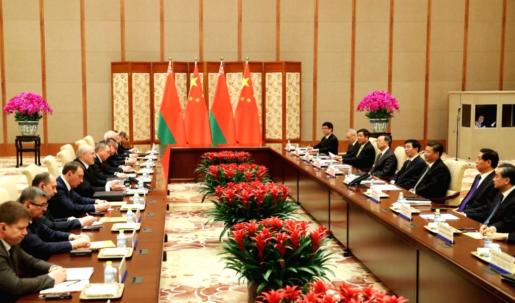 BEIJING, May 16, 2017 - Chinese President Xi Jinping (3rd R) meets with his Belarusian counterpart Alexander Lukashenko (5th L) in Beijing, capital of China, May 16, 2017. Alexander Lukashenko was in ...