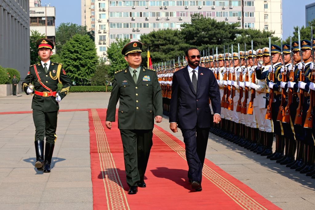 BEIJING, May 17, 2017 - Chinese Defense Minister and State Councilor Chang Wanquan holds a welcome ceremony for Minister of State for Defense of the United Arab Emirates Mohammed Al-Bowardi before ...