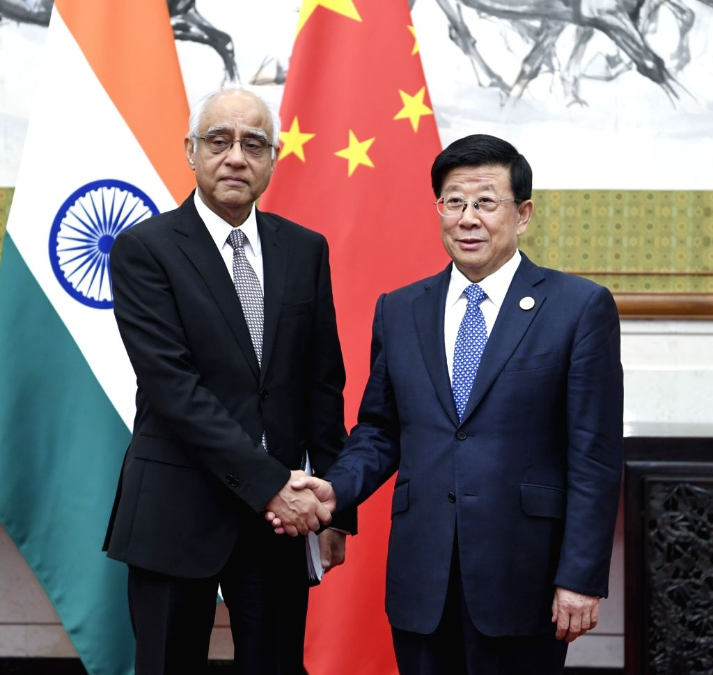 BEIJING, May 21, 2018 - Chinese State Councilor and Minister of Public Security Zhao Kezhi (R) meets with Deputy National Security Adviser of India Rajinder Khanna, who is also head of a delegation ... - Rajinder Khanna