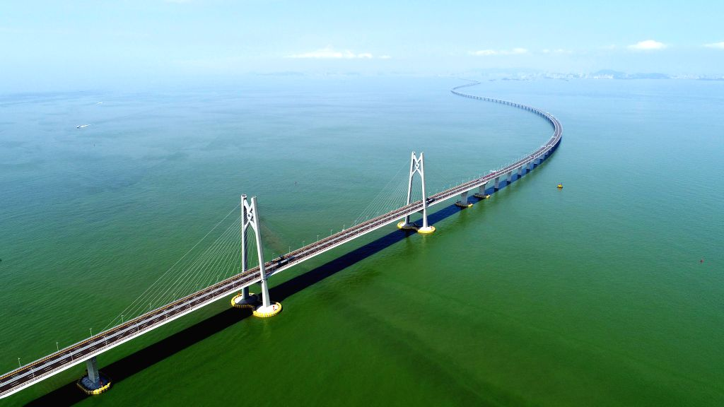 BEIJING, May 9, 2019 - Aerial photo taken on July 11, 2018 shows the Hong Kong-Zhuhai-Macao Bridge in south China. China will hold the Conference on Dialogue of Asian Civilizations starting from May ...