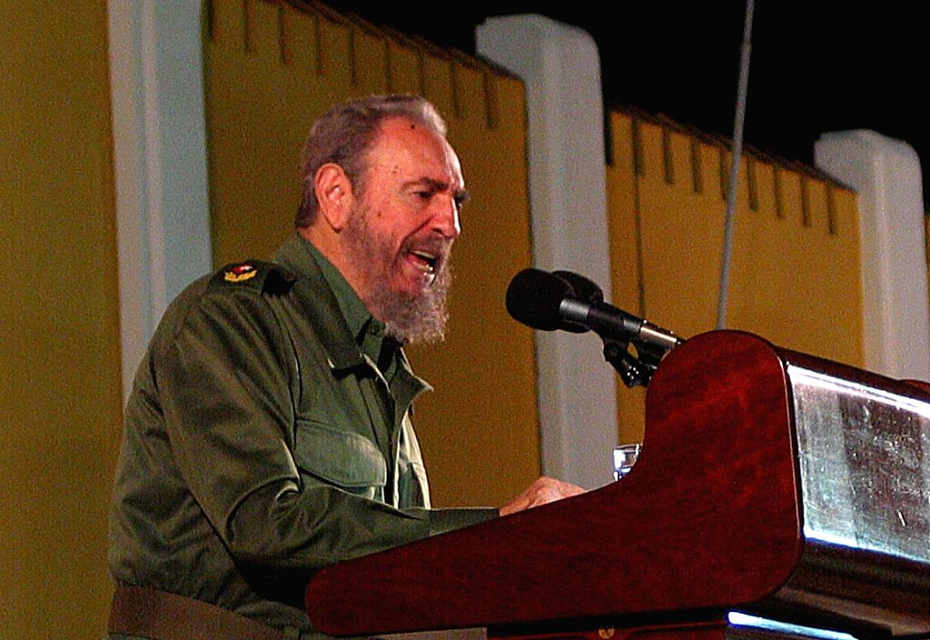 BEIJING, Nov. 26, 2016 - File photo taken on July 26, 2003 shows Fidel Castro giving speech during a rally at the site of Moncada barracks in Santiago, Cuba. Cuban revolutionary leader Fidel Castro ...