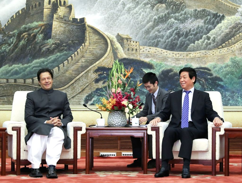 BEIJING, Nov. 3, 2018 - Li Zhanshu (R), chairman of the Standing Committee of the National People's Congress (NPC), meets with Pakistani Prime Minister Imran Khan at the Great Hall of the People in ... - Imran Khan
