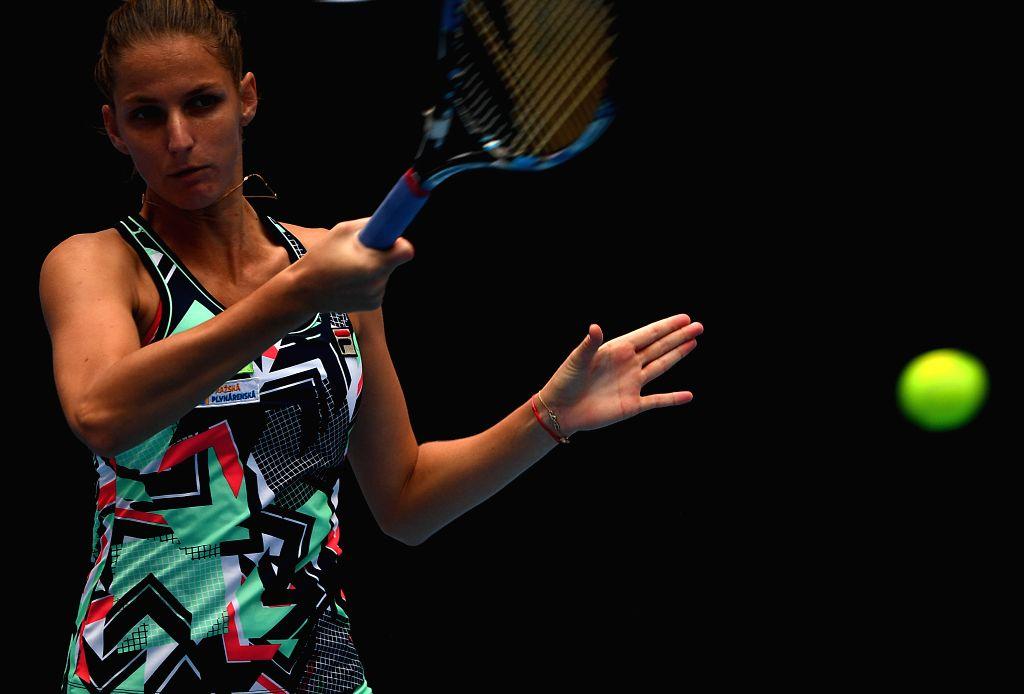 BEIJING, Oct. 1, 2017 - Karolina Pliskova of the Czech Republic returns a shot during the women's singles first round match against Carla Suarez Navarro of Spain at 2017 China Open in Bejing, capital ...