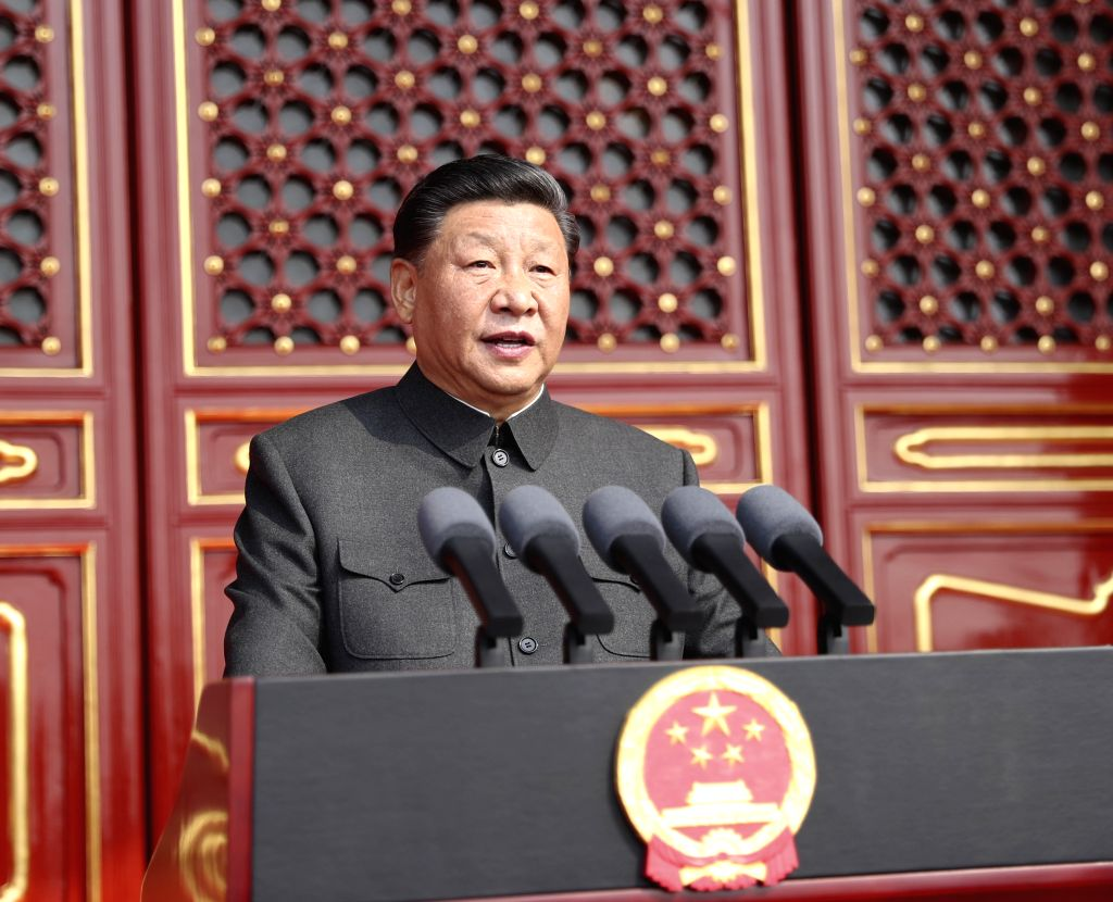 BEIJING, Oct. 1, 2019 (Xinhua) -- Chinese President Xi Jinping, also general secretary of the Communist Party of China (CPC) Central Committee and chairman of the Central Military Commission, delivers a speech at a grand rally to celebrate the 70th a