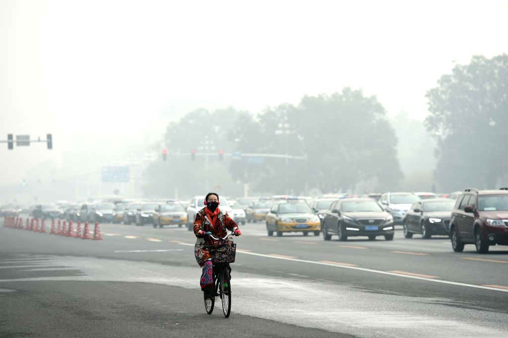 BEIJING, Oct. 14, 2016 - A woman wearing mask rides on a smog-shrouded road in Beijing, capital of China, Oct. 14, 2016.