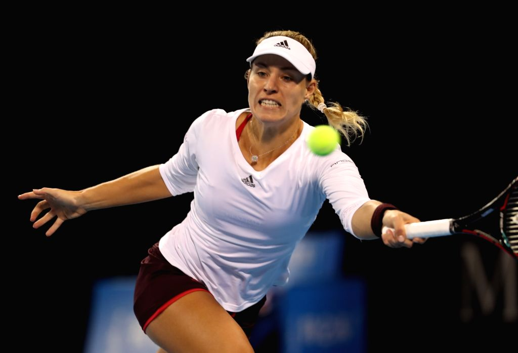 BEIJING, Oct. 2, 2017 - Angelique Kerber of Germany returns the ball during the women's singles second round match against Alize Cornet of France at 2017 China Open tennis tournament in Beijing, ...