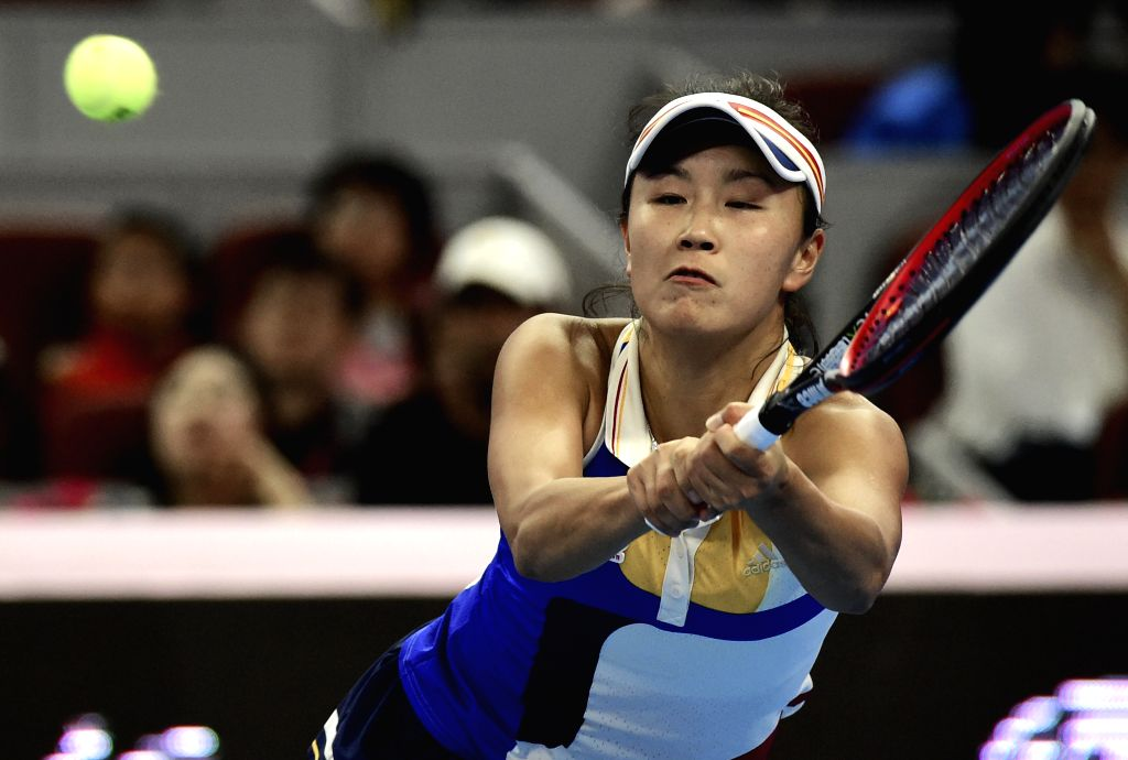 BEIJING, Oct. 2, 2017 - China's Peng Shuai returns the ball during the women's singles first round match against Shelby Rogers of the United States at 2017 China Open tennis tournament in Beijing, ...