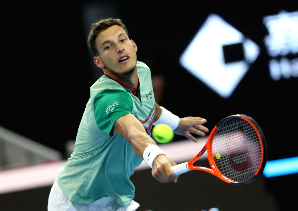BEIJING, Oct. 2, 2017 - Pablo Carreno Busta of Spain returns the ball during the men's singles first round match against Steve Darcis of Belgium at 2017 China Open tennis tournament in Beijing, ...