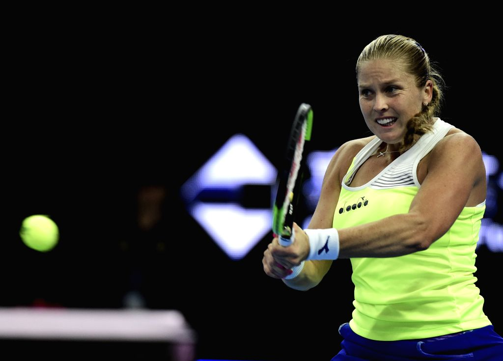 BEIJING, Oct. 2, 2017 - Shelby Rogers of the United States returns the ball during the women's singles first round match against China's Peng Shuai at 2017 China Open tennis tournament in Beijing, ...