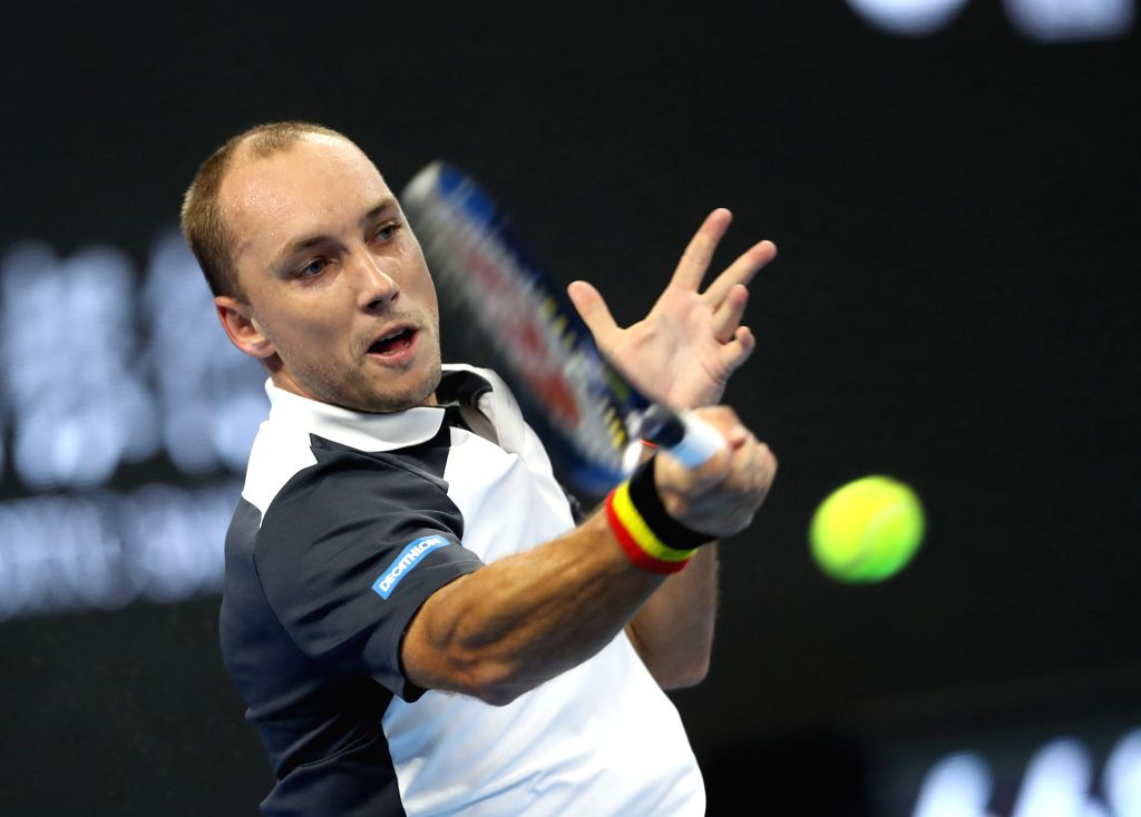 BEIJING, Oct. 2, 2017 - Steve Darcis of Belgium returns the ball during the men's singles first round match against Pablo Carreno Busta of Spain at 2017 China Open tennis tournament in Beijing, ...