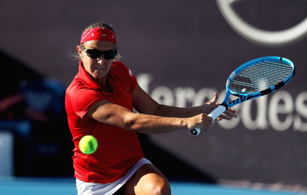 BEIJING, Oct. 2, 2018 (Xinhua) -- Kirsten Flipkens of Belgium hits a return during the women's singles second round match against Kiki Bertens of the Netherlands at China Open tennis tournament in Beijing, China, Oct. 2, 2018. Flipkens lost 0-2. (Xin