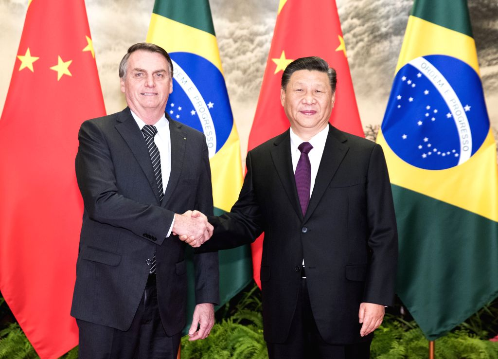 BEIJING, Oct. 25, 2019 - Chinese President Xi Jinping holds talks with Brazilian President Jair Messias Bolsonaro at the Great Hall of the People in Beijing, capital of China, Oct. 25, 2019.