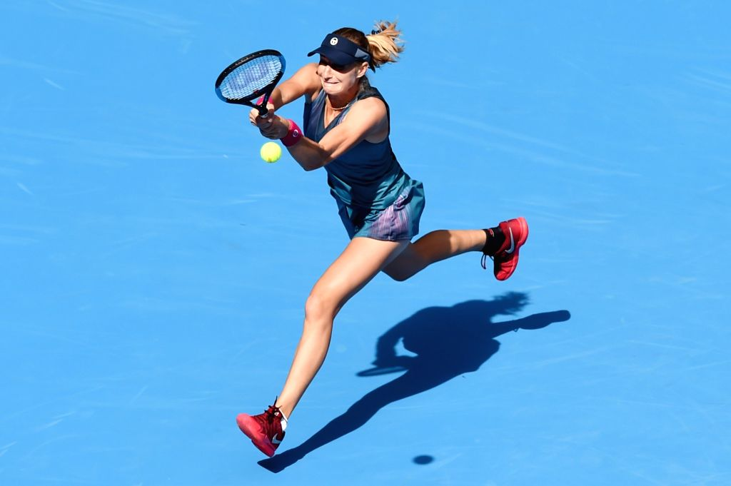 BEIJING, Oct. 3, 2017 - Ekaterina Makarova of Russia returns the ball during the women's singles second round match against her compatriot Maria Sharapova at 2017 China Open tennis tournament in ...