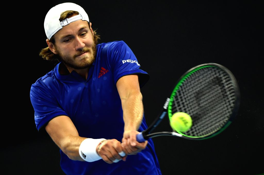 BEIJING, Oct. 3, 2017 - Lucas Pouille of France returns the ball during the men's singles first round match against Rafael Nadal of Spain at 2017 China Open tennis tournament in Beijing, capital of ...