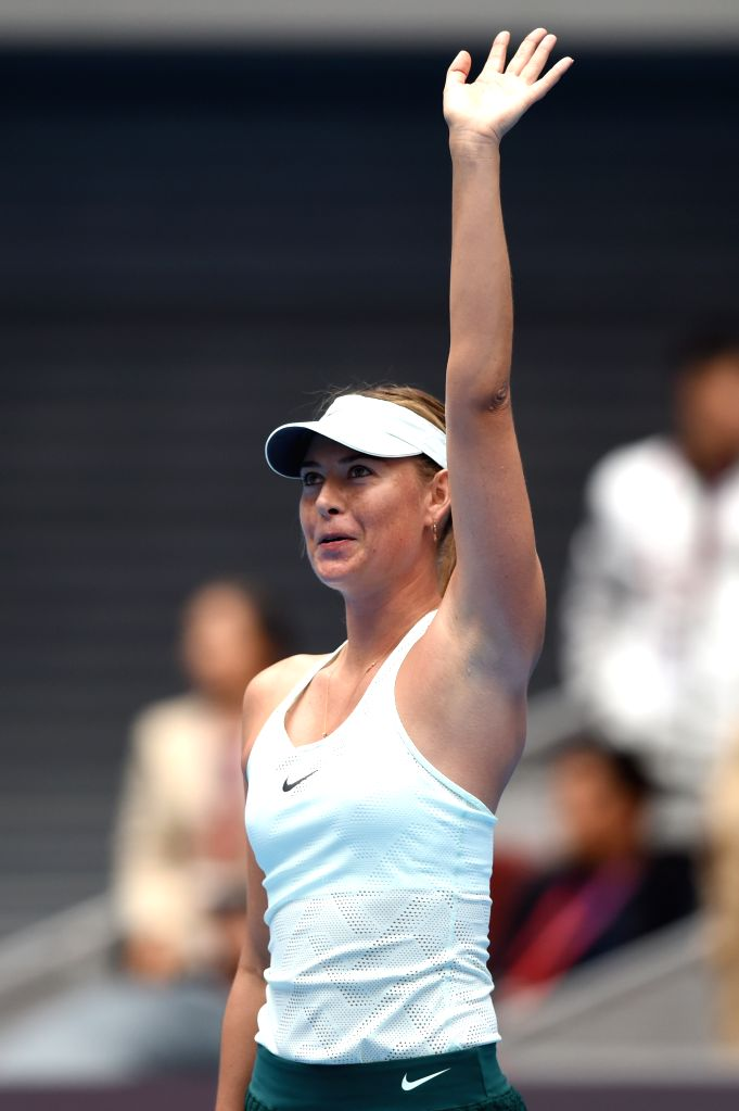 BEIJING, Oct. 3, 2017 - Maria Sharapova of Russia waves to the crowd after the women's singles second round match against her compatriot Ekaterina Makarova at 2017 China Open tennis tournament in ...