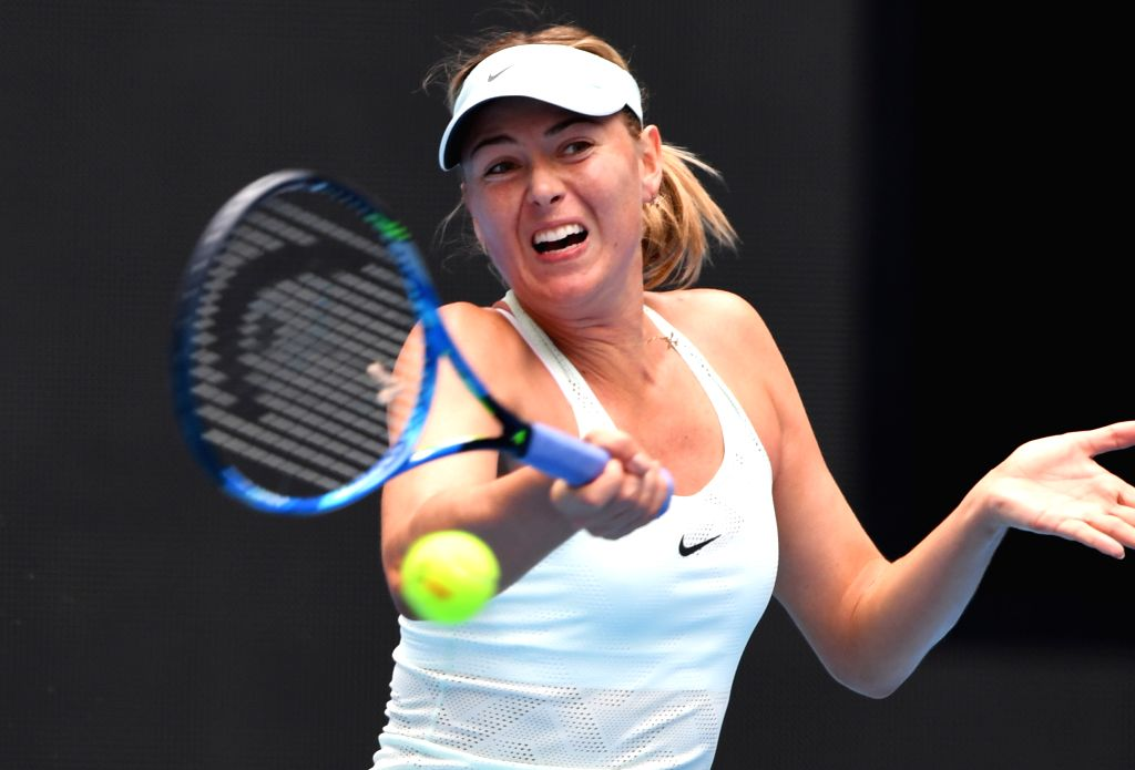 BEIJING, Oct. 3, 2017 - Maria Sharapova of Russia returns the ball during the women's singles second round match against her compatriot Ekaterina Makarova at 2017 China Open tennis tournament in ...