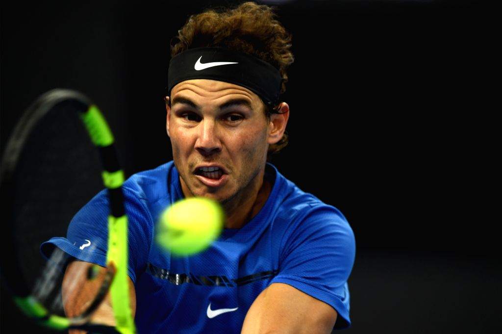 BEIJING, Oct. 3, 2017 - Rafael Nadal of Spain returns the ball during the men's singles first round match against Lucas Pouille of France at 2017 China Open tennis tournament in Beijing, capital of ...