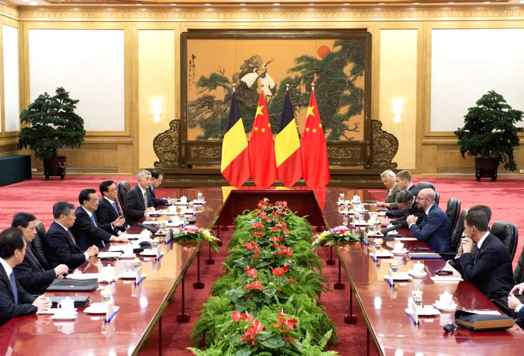BEIJING, Oct. 31, 2016 - Chinese Premier Li Keqiang (4th L) holds talks with Belgian Prime Minister Charles Michel in Beijing, capital of China, Oct. 31, 2016. - Charles Michel