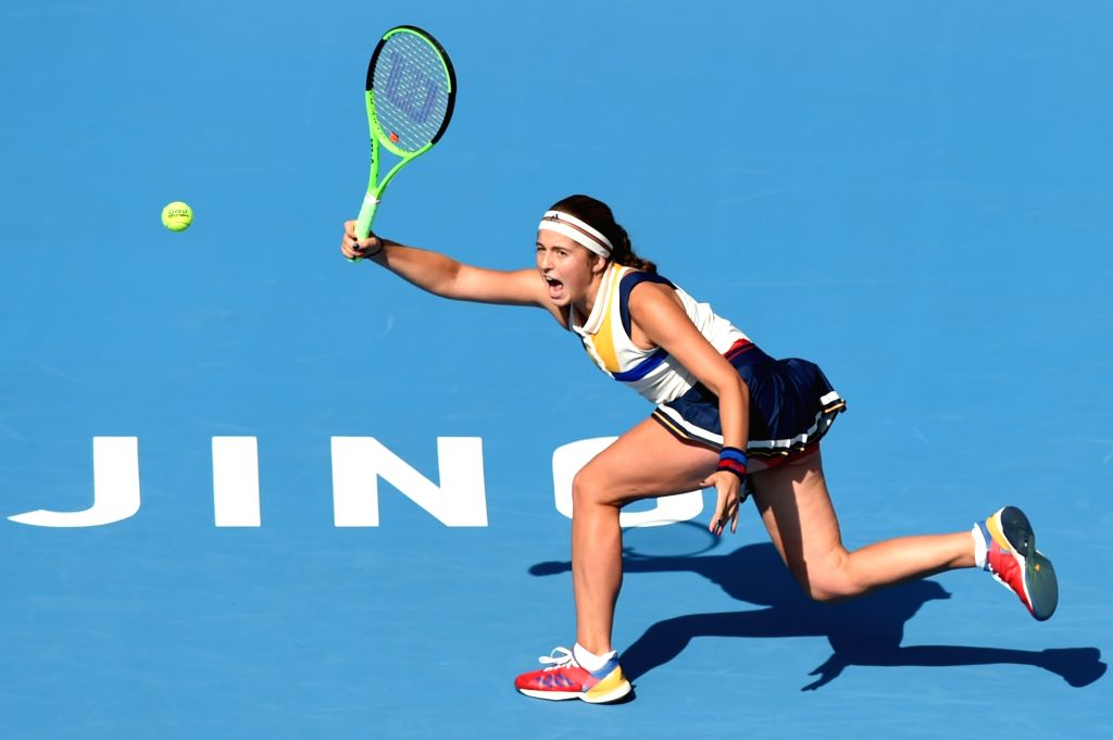 BEIJING, Oct. 4, 2017 - Jelena Ostapenko of Latvia returns the ball during the women's singles second round match against Samantha Stosur of Australia at 2017 China Open tennis tournament in Beijing, ...