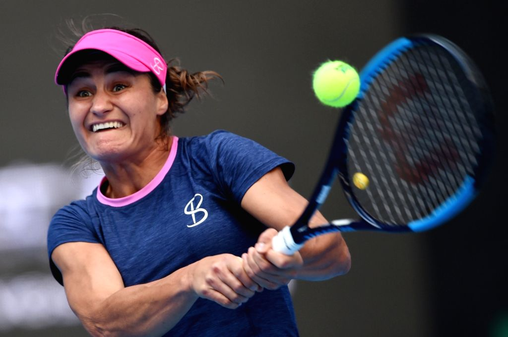BEIJING, Oct. 4, 2017 - Monica Niculescu of Romania returns the ball during the women's singles second round match against Peng Shuai of China at 2017 China Open tennis tournament in Beijing, capital ...