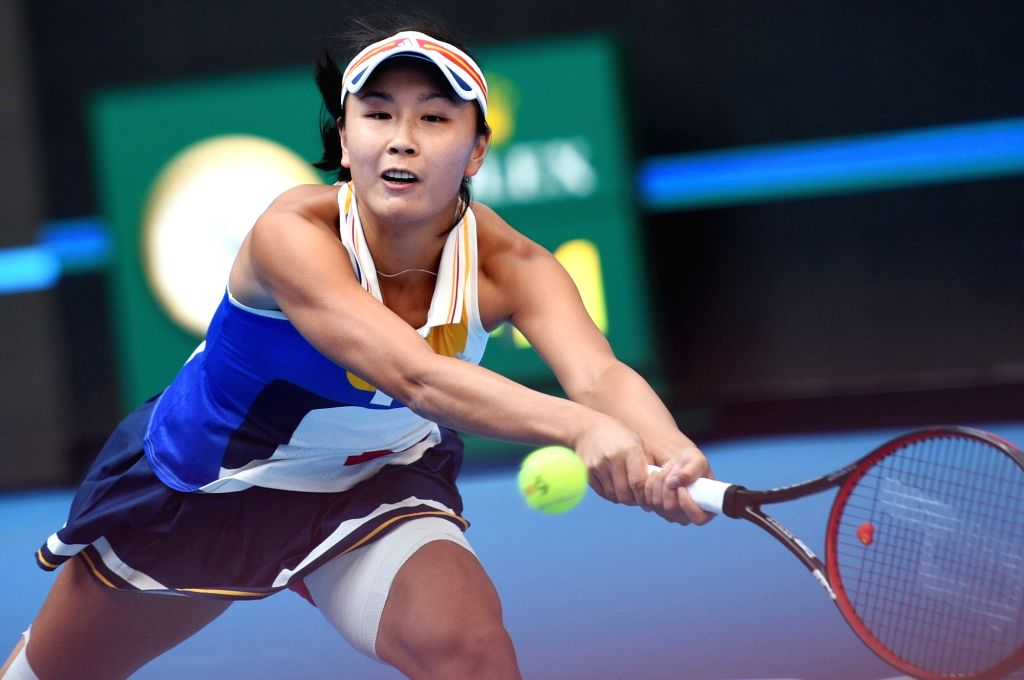 BEIJING, Oct. 4, 2017 - Peng Shuai of China returns the ball during the women's singles second round match against Monica Niculescu of Romania at 2017 China Open tennis tournament in Beijing, capital ...