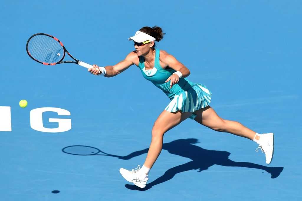 BEIJING, Oct. 4, 2017 - Samantha Stosur of Australia returns the ball during the women's singles second round match against Jelena Ostapenko of Latvia at 2017 China Open tennis tournament in Beijing, ...