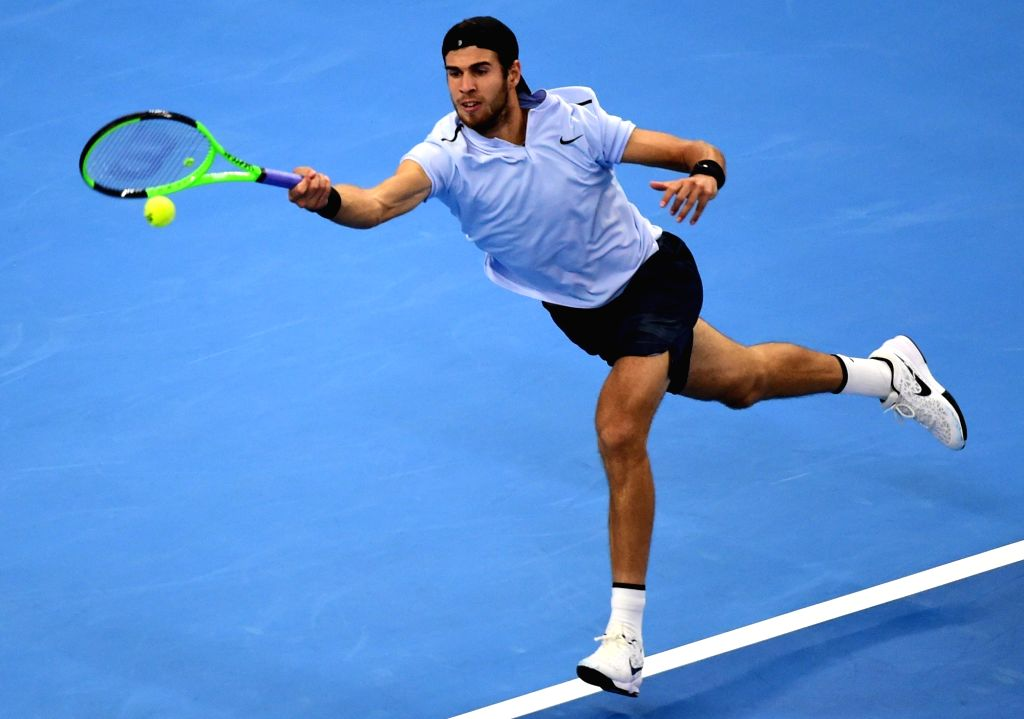 BEIJING, Oct. 5, 2017 - Karen Khachanov of Russia returns the ball during the men's singles second round match against Rafael Nadal of Spain at the China Open tennis tournament in Beijing on Oct. 5, ...