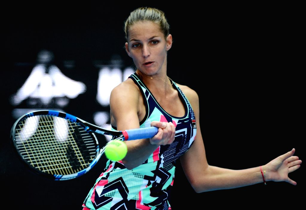BEIJING, Oct. 5, 2017 - Karolina Pliskova of Czech Republic returns the ball during the women's singles third round match against Sorana Cirstea of Romania at the China Open tennis tournament in ...