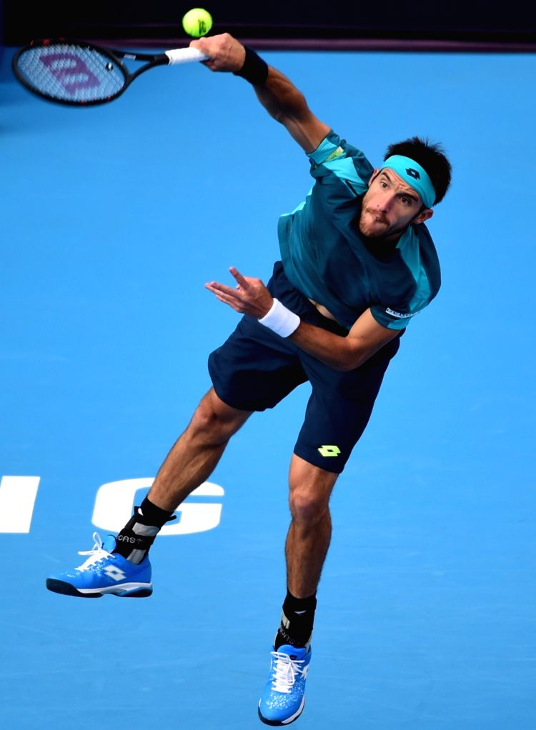BEIJING, Oct. 5, 2017 - Leonardo Mayer of Argentina serves during the men's singles second round match against John Isner of the United States at the China Open tennis tournament in Beijing on Oct. ...