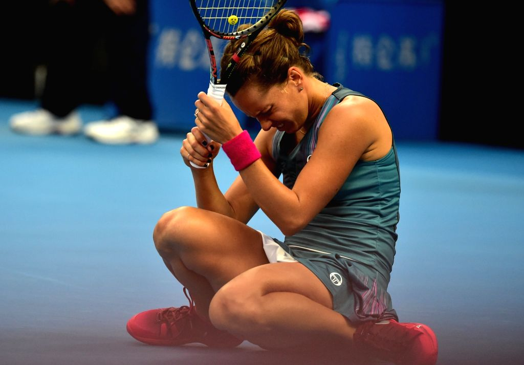 BEIJING, Oct. 6, 2017 - Barbora Strycova of the Czech Repubic reacts during the women's singles quarter-final match against her compatriot Petra Kvitova at the China Open tennis tournament in Beijing ...