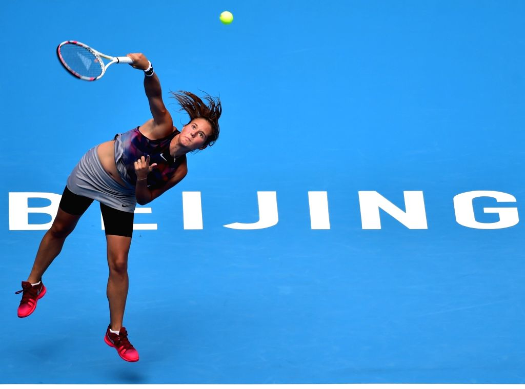 BEIJING, Oct. 6, 2017 - Daria Kasatkina of Russia serves during the women's singles quarter-final match against Simona Halep of Romania at the China Open tennis tournament in Beijing on Oct. 6, 2017. ...