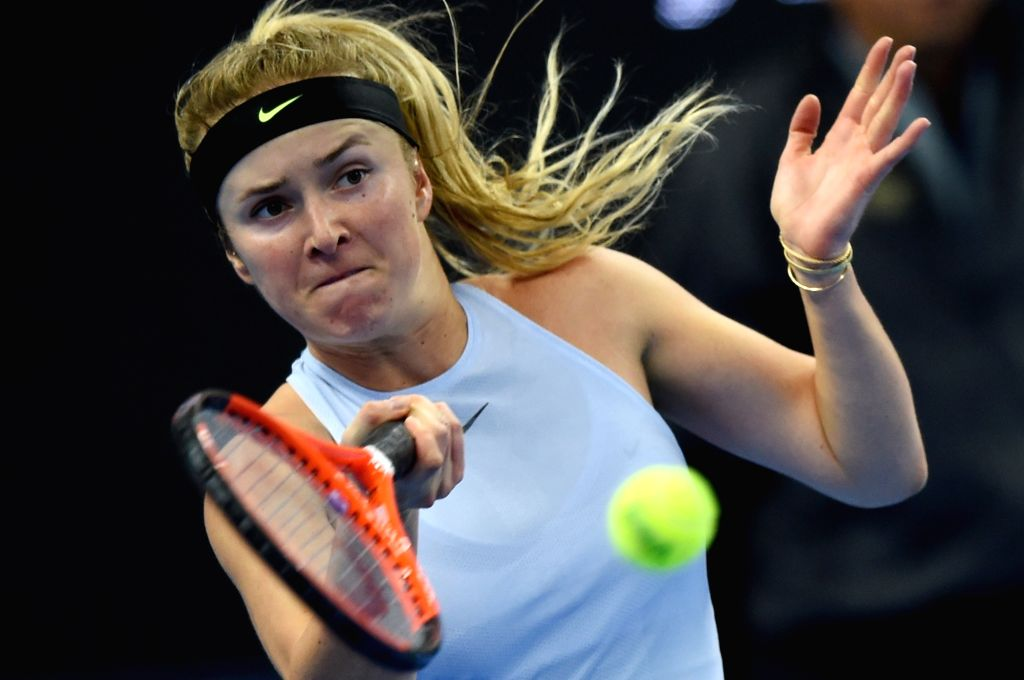 BEIJING, Oct. 6, 2017 - Elina Svitolina of Ukraine hits a return during the women's singles quarter-final match against Caroline Garcia of France at the China Open tennis tournament in Beijing on ...