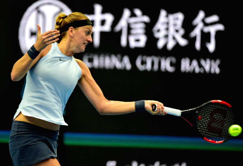 BEIJING, Oct. 6, 2017 - Petra Kvitova of the Czech Repubic hits a return during the women's singles quarter-final match against her compatriot Barbora Strycova at the China Open tennis tournament in ...