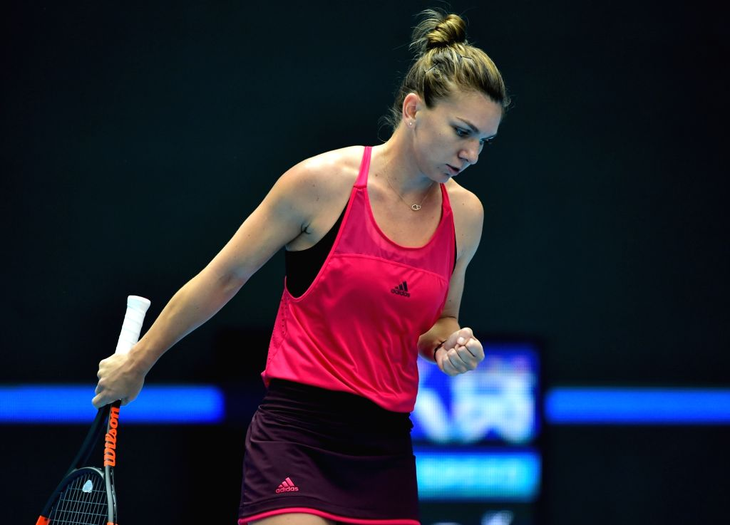 BEIJING, Oct. 6, 2017 - Simona Halep of Romania reacts during the women's singles quarter-final match against Daria Kasatkina of Russia at the China Open tennis tournament in Beijing on Oct. 6, 2017. ...
