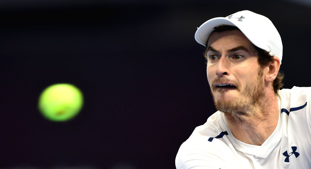 BEIJING, Oct. 7, 2016 - Andy Murray of Britain hits a return to his compatriot Kyle Edmund during their men's singles quarterfinal match at the China Open tennis tournament in Beijing, capital of ...
