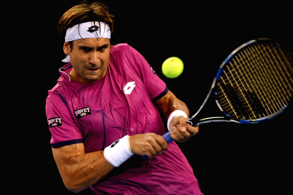 BEIJING, Oct. 7, 2016 - David Ferrer of Spain hits a return to Alexander Zverev of the Germany during their men's singles quarterfinal match at the China Open tennis tournament in Beijing, capital of ...