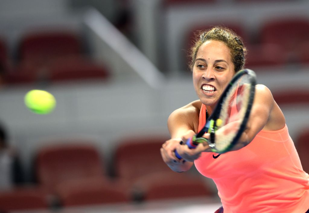 BEIJING, Oct. 7, 2016 - Madison Keys of the United States hits a return to Petra Kvitova of the Czech Republic during their women's singles quarterfinal match at the China Open tennis tournament in ...