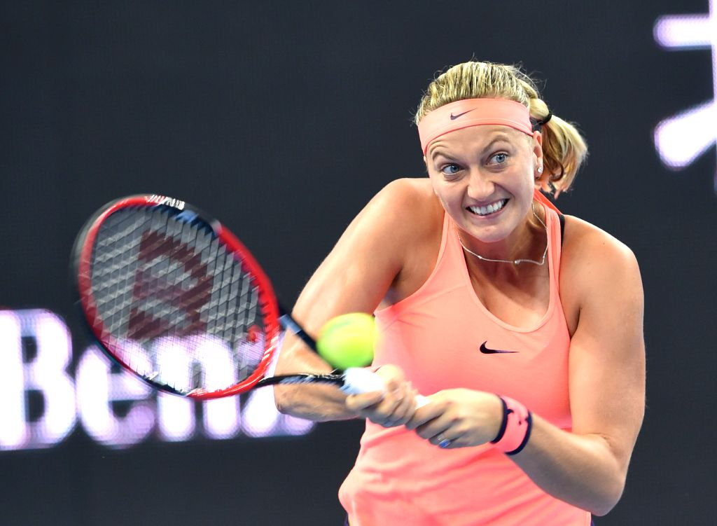 BEIJING, Oct. 7, 2016 - Petra Kvitova of the Czech Republic hits a return to Madison Keys of the United States during their women's singles quarterfinal match at the China Open tennis tournament in ...