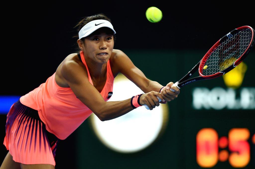 BEIJING, Oct. 7, 2016 - Zhang Shuai of China hits a return to Johanna Konta of Britain during their women's singles quarterfinal match at the China Open tennis tournament in Beijing, capital of ...