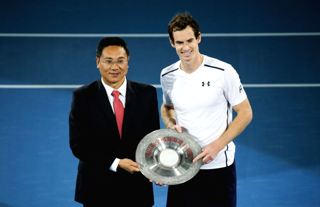 "BEIJING, Oct. 8, 2016 - Britain's Andy Murray (R) is awarded as ""CHINA OPEN MVP"" after the his men's singles semifinal match against David Ferrer of Spain at the China Open tennis ..."
