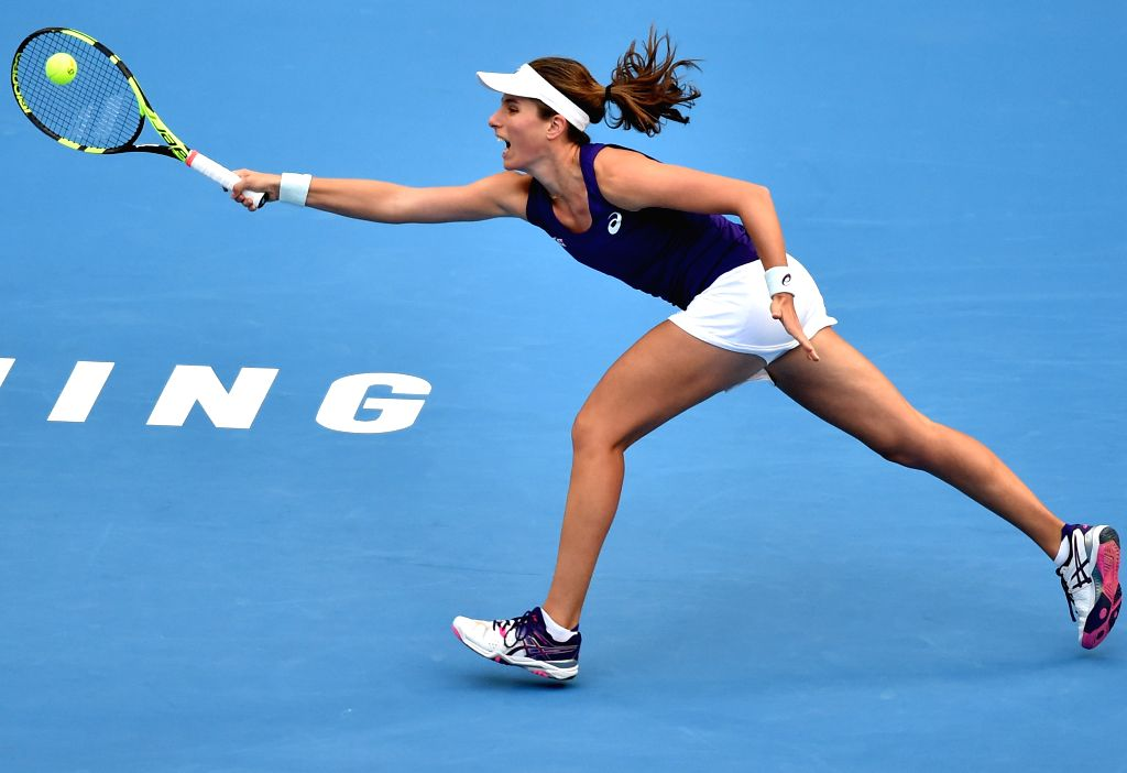 BEIJING, Oct. 8, 2016 - Britain's Johanna Konta returns a shot during her women's singles semifinal match against Madison Keys of the United States at the China Open tennis tournament in Beijing, ...