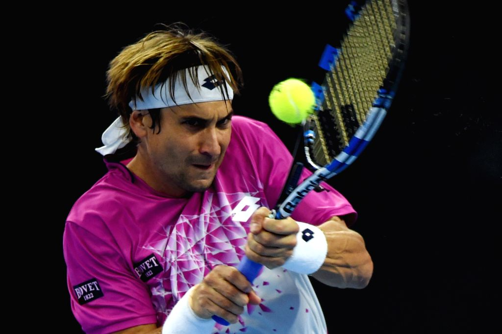 BEIJING, Oct. 8, 2016 - David Ferrer of Spain returns the ball during his men's singles semifinal match against Britain's Andy Murray at the China Open tennis tournament in Beijing, capital of China, ...