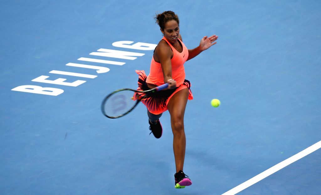BEIJING, Oct. 8, 2016 - Madison Keys of the United States returns a shot during her women's singles semifinal match against Britain's Johanna Konta at the China Open tennis tournament in Beijing, ...
