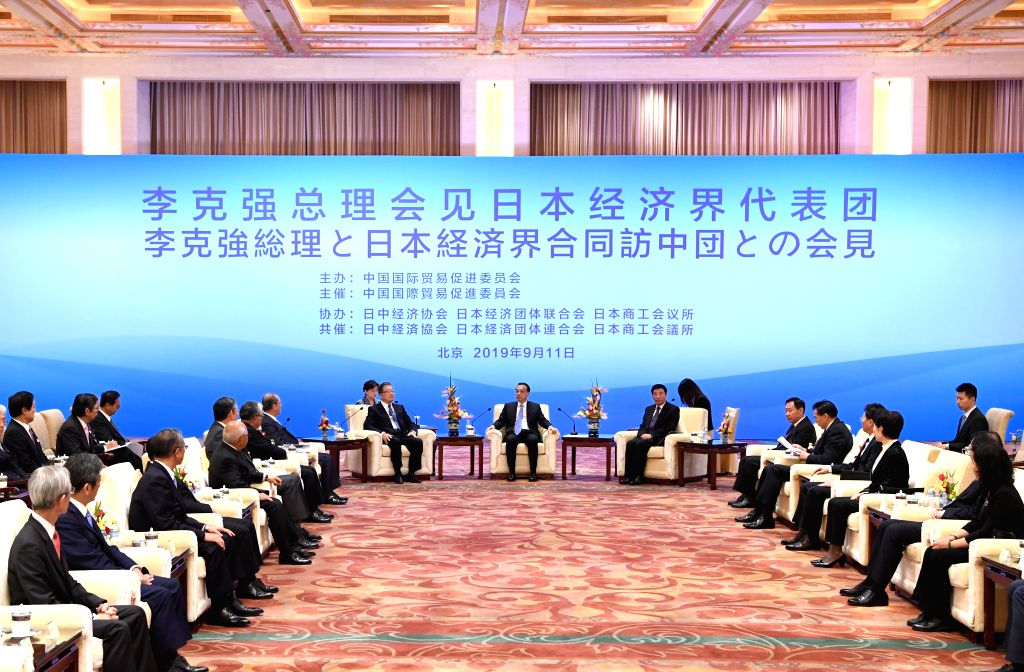 BEIJING, Sept. 11, 2019 - Chinese Premier Li Keqiang meets with a delegation from Japan's business community, led by president of the Japan-China Association on Economy and Trade Shoji Muneoka, chair ...