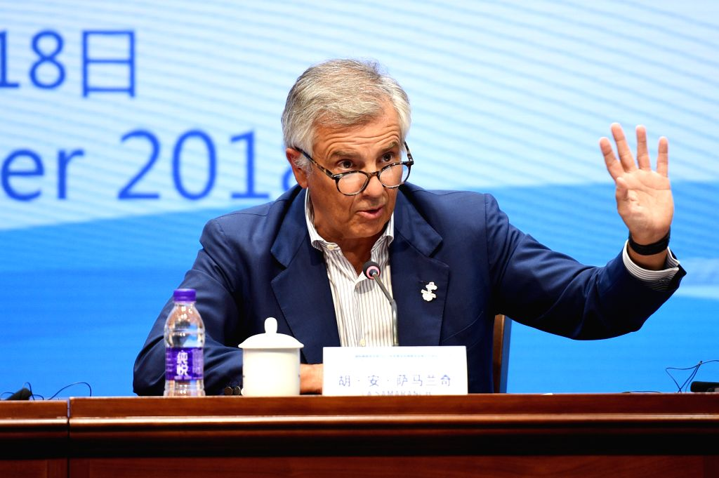 BEIJING, Sept. 18, 2018 - IOC Vice-President Juan Antonio Samaranch Salisachs speaks during the press conference of the 3rd meeting of the IOC Coordination Commission for the XXIV Olympic Winter ...