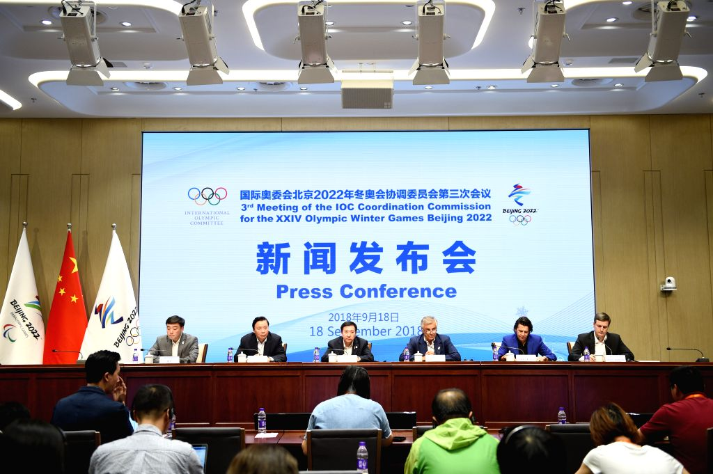 BEIJING, Sept. 18, 2018 - Photo taken on Sept. 18, 2018 shows the press conference of the 3rd meeting of the IOC Coordination Commission for the XXIV Olympic Winter Games Beijing 2022 in Beijing, ...