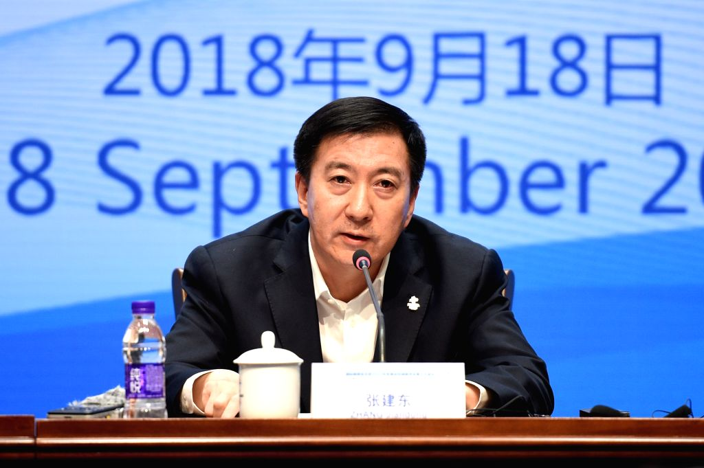 BEIJING, Sept. 18, 2018 - Zhang Jiandong, Vice Mayor of Beijing and Executive Vice President of Beijing 2022, speaks during the press conference of the 3rd meeting of the IOC Coordination Commission ...